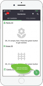 Mobile app for gardening screen shot