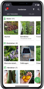 iPhone X Gardenize mobile app for plants and gardening