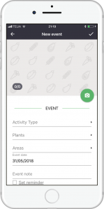 Add event in gardenize mobile app for gardening