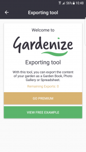 Gardenize Exporting feature